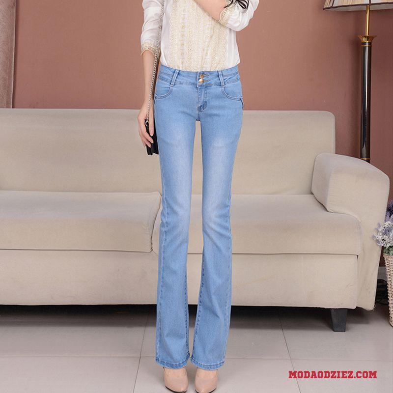 120d5351529ad6 Damskie Elastyczne Cienkie Lato Mały Dżinsy Spodnie Niebieski Sprzedam