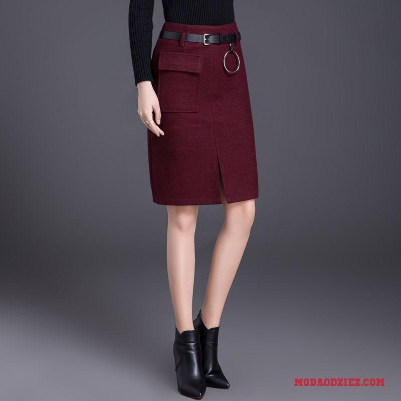 Jesień Krótkie Spódnice Wełniana Damskie Czerwony Spódnica Z Wełny Zima