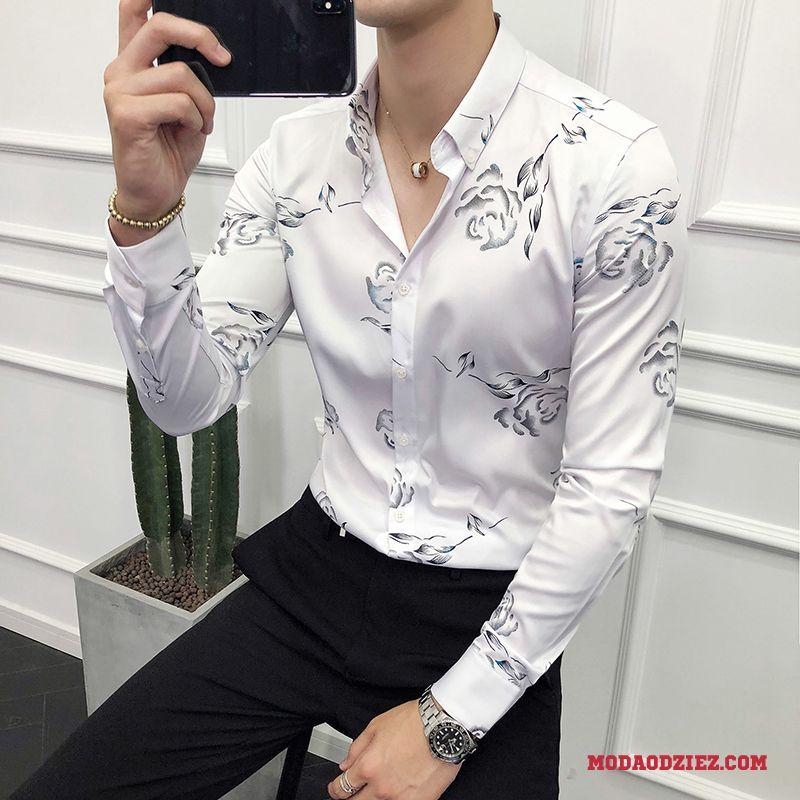 Koszula Slim Fit Kwiaty Czarny Męskie Drukowana Brytyjskie  rDGRs