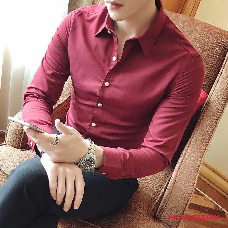 Koszula Męskie Tendencja Slim Fit Długi Rękaw Casual Cienkie