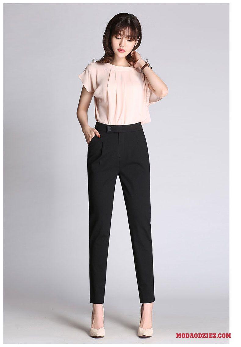 Casualowe Spodnie Wysoki Stan Cienkie Spodnie Damskie Długie Wiosna Ołówkowe Spodnie Szerokie