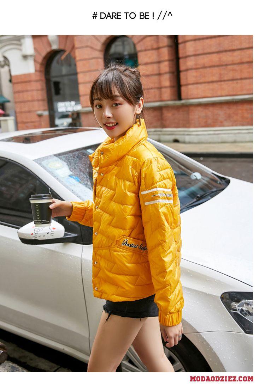 Kurtka Puchowa Moda Casual Wygodne Eleganckie Żółty Zima Długi Rękaw Tendencja Damskie