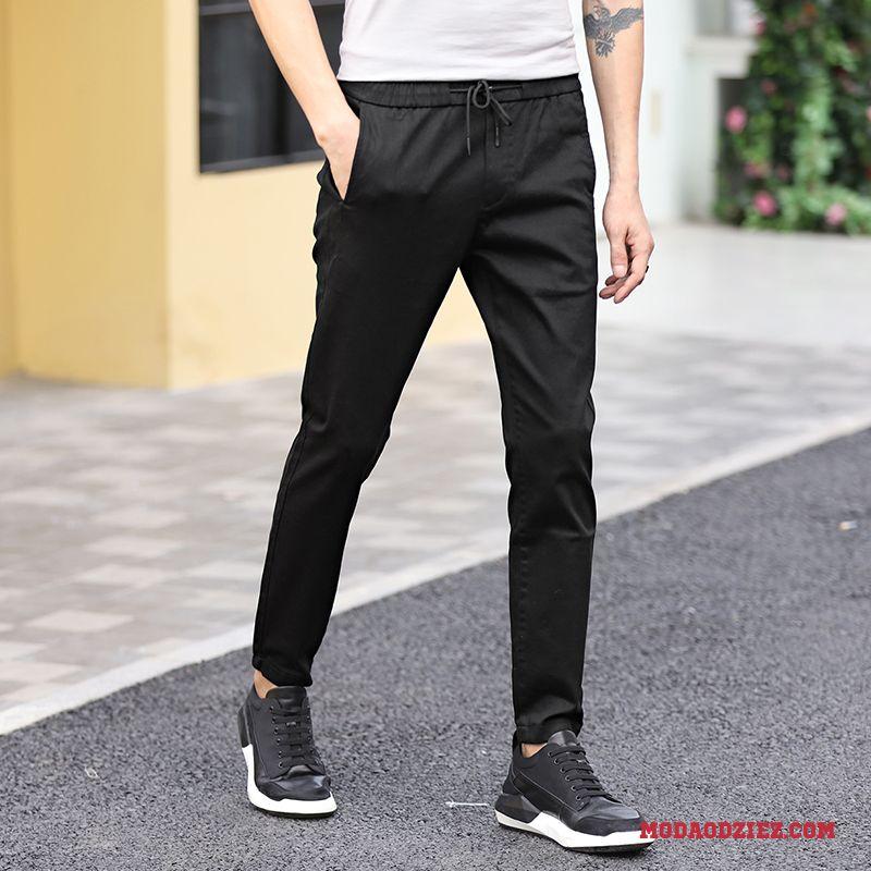 Casualowe Spodnie Sznurowane Ołówkowe Spodnie Slim Fit Tendencja Czarny Męskie Student