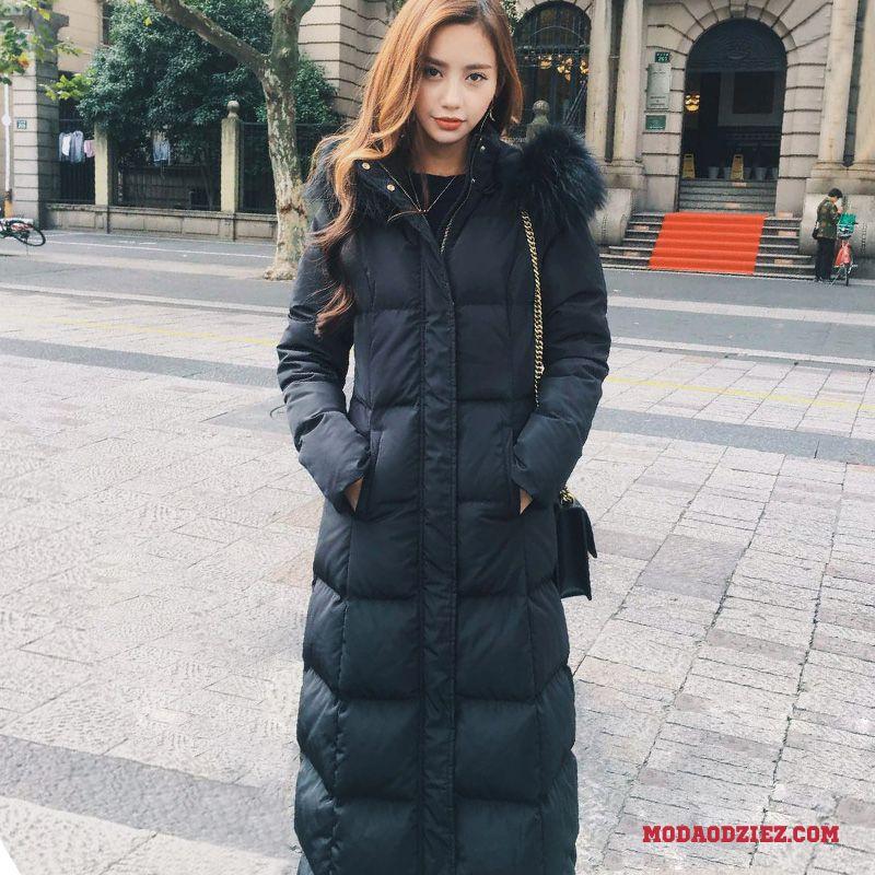 czarne długie kurtki damskie na zime