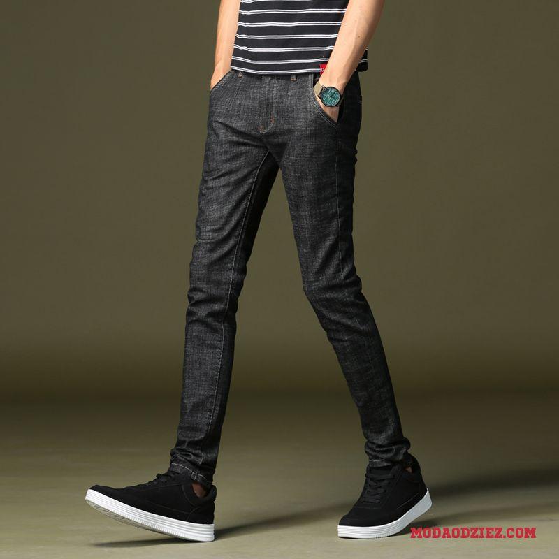 Dżinsy Casual Elastyczne Czarny Ołówkowe Spodnie Slim Fit Jesień Zima Męskie