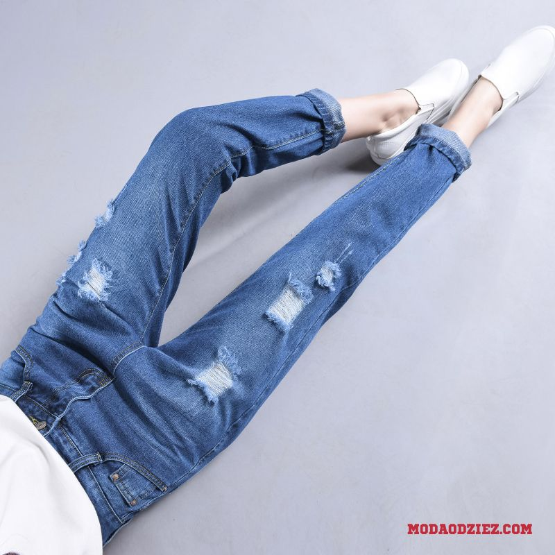 9624aefdf5c5fc Dżinsy Szerokie Lato Wysoki Stan Cienkie Spodnie Casual Damskie Niebieski  Kup