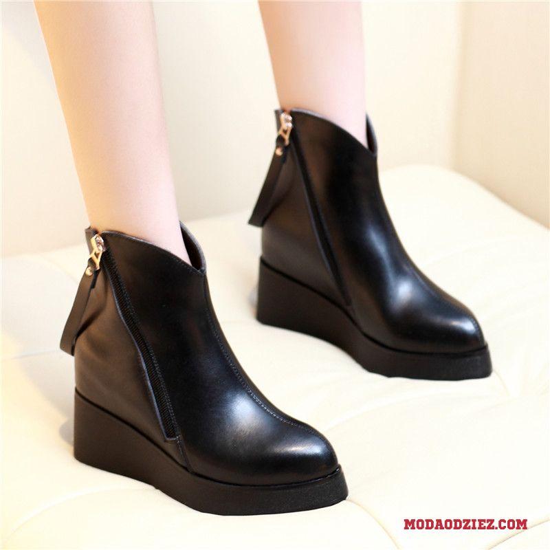 Buty skórzane damskie na platformie czarne