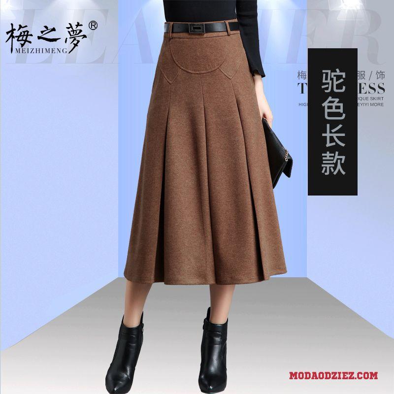 Damskie Spódnica Sukienka Wiosna Wełniana Jesień Duży Rozmiar Długie Plisowana Odzież Zimowa Brązowy
