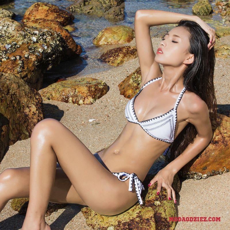 a68584445840b5 Damskie Z Haftem Kwiat Europa Bikini Damska Ręcznie Robione Seksowna Strój  Kąpielowy Biały Czarny Sprzedam