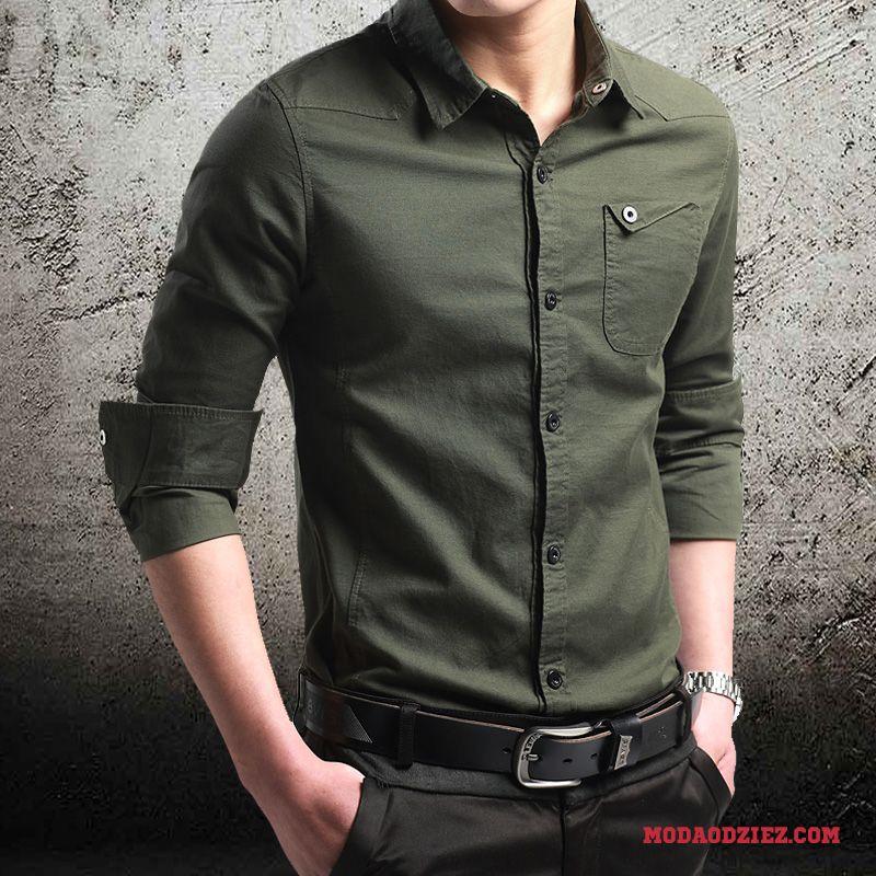 Koszula Długi Rękaw Męskie Krótki Rękaw Zima Slim Fit Casual  41PAz
