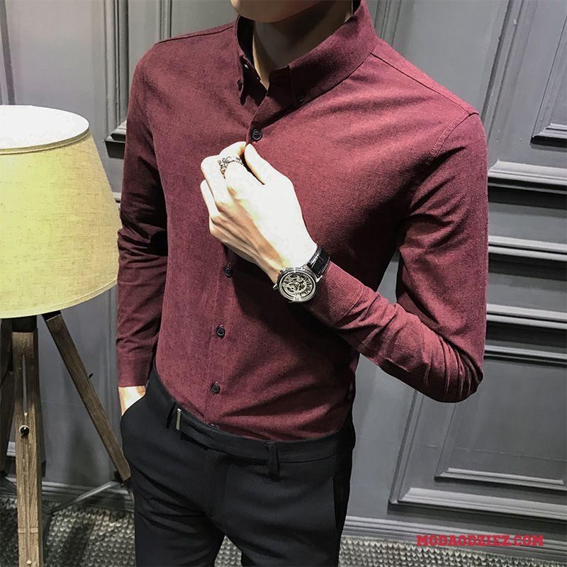 f19bd0c56a0d31 Męskie Koszula Casual Tendencja Czerwony Młodzież Szary Slim Fit Sprzedam