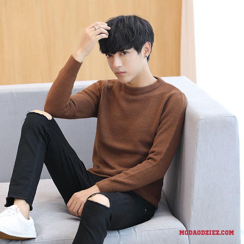 Męskie Moda Nowy Podkoszulek Swetry Slim Fit Biały Sweter Tendencja Karmel