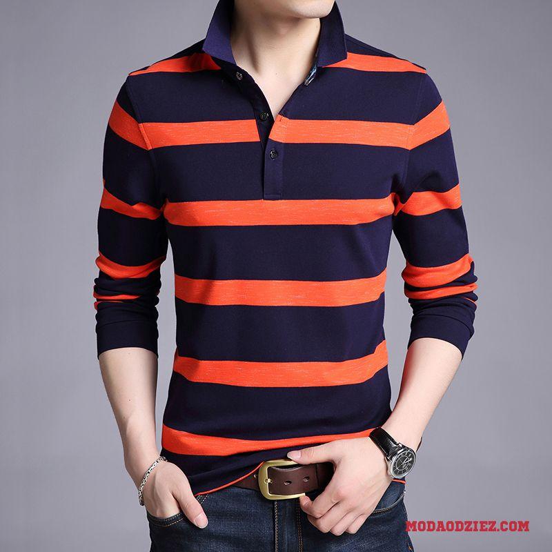 Męskie T shirt Z Długim Rękawem Szerokie Wysoki Kołnierz