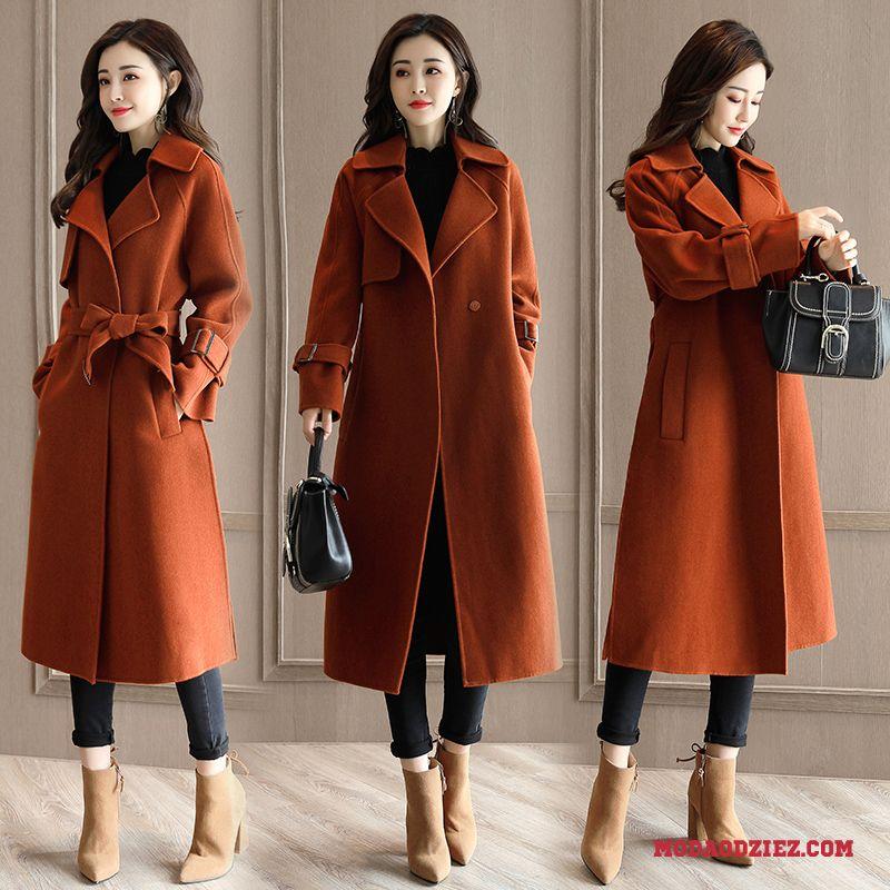 Elegancki ciepły długi płaszcz na podszewce czarny