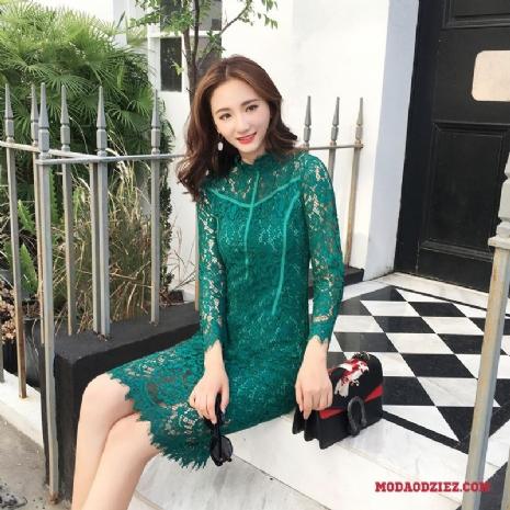 Nowy Długi Rękaw Sukienka Legginsy Damskie Szyfon Kwiaty Jednorzędowy