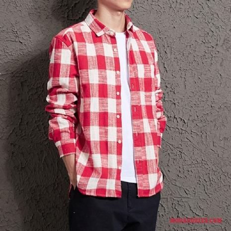 Casual Koszula Męskie Vintage Krata Jesień Długi Rękaw Klapa  J5fUw